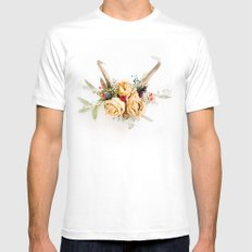 Floral Antlers IV White MEDIUM Mens Fitted Tee