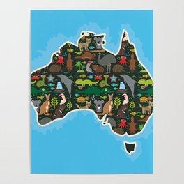 map of Australia. Wombat Echidna Platypus Emu Tasmanian devil Cockatoo kangaroo dingo octopus fish Poster