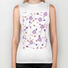 Boho Watercolor Hand Painted Flower and Arrows Biker Tank