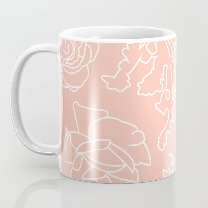 Peony Print (Peach) Coffee Mug
