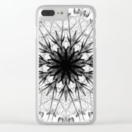 Black Ice Star Mandala Clear iPhone Case