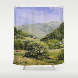 Pastures and Mount Mansfield Oil Landscape Vermont Painting Shower Curtain