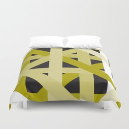 Gold Structural Lines Pattern Duvet Cover
