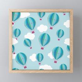 Hot air balloons and clouds - blue Framed Mini Art Print