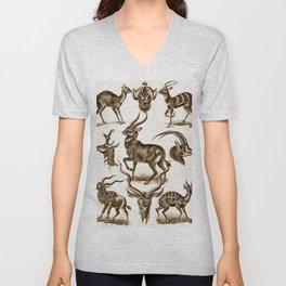 Ernst Haeckel Antilopina Antelope Unisex V-Neck