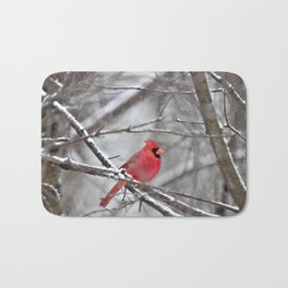 Quiet Time in the Snowy Woods Bath Mat