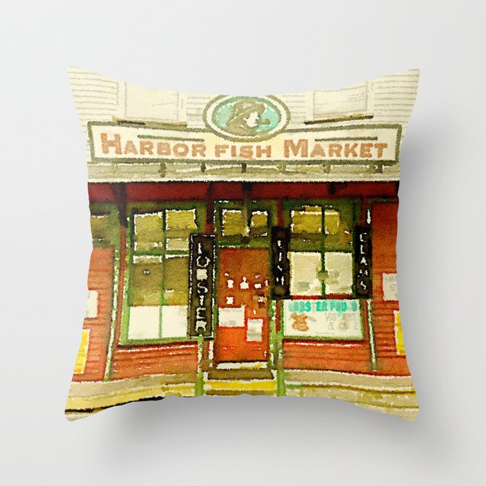 Harbor Fish Market Throw Pillow