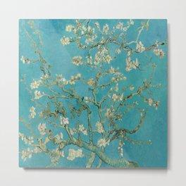 Almond Blossoms Vincent van Gogh Blue Floral Metal Print