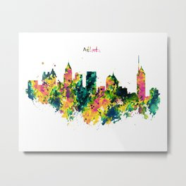 Atlanta Watercolor Skyline Metal Print