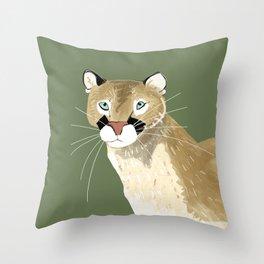 Caturday Puma Throw Pillow