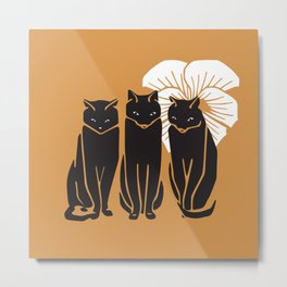 Three black cats and white flower Metal Print