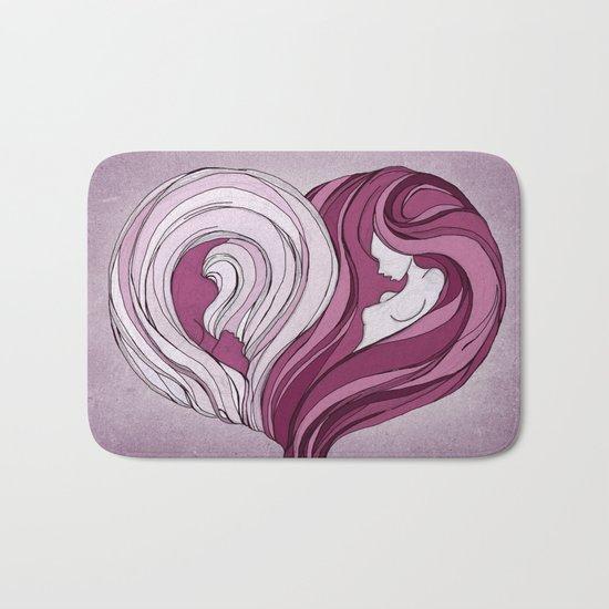 Yin Yang Heart Bath Mat