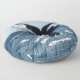 Hump Back Whale tail breaking the surface of stormy waves at sea Floor Pillow