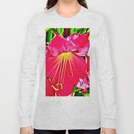 RED HIBISCUS FLOWER MACRO Long Sleeve T-shirt
