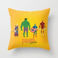 super heroes Throw Pillows featuring Super Heroes - Pixel Nostalgia by Boo! Studio