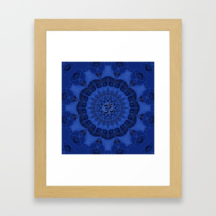 Mandala pattern yoga sign namaste navy dark blue cobalt Framed Art Print