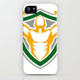 Strongman Flexing Muscles Crest Icon iPhone Case