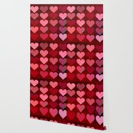 Texture Red Pink Hearts Wallpaper