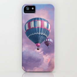 Blue, Pink, and Purple Hot Air Balloons on Pastel Clouds iPhone Case