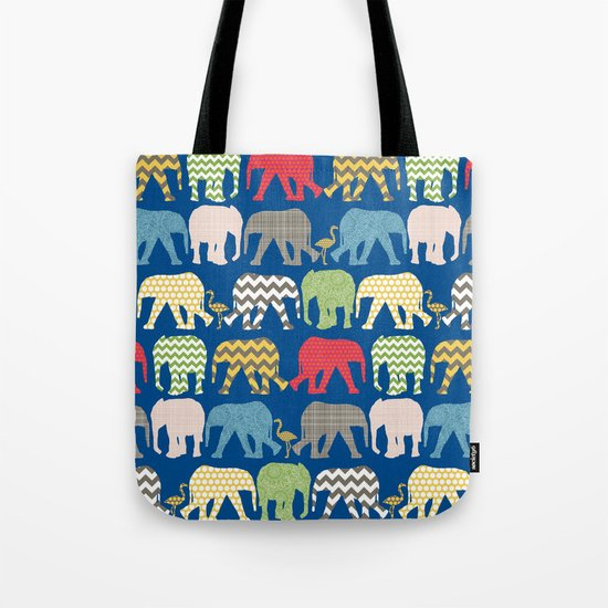 baby elephants and flamingos lapis Tote Bag