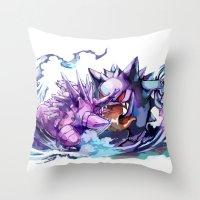gengar Throw Pillows featuring Nidorino vs Gengar by Sa-Dui