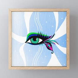 Rainbow Peacock Feather Eyelashes Eye Framed Mini Art Print