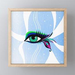 Rainbow Peacock Feather Eyelashes Eye Framed Mini Art Print