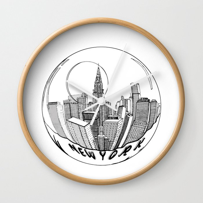 THE CITY of New York in a Suspended Bowl   Artwork Wall Clock