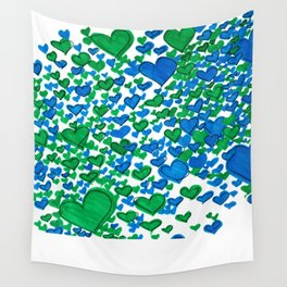 Love Collides - Blue & Green Hearts Wall Tapestry