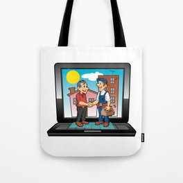 contractor handshake on laptop Tote Bag
