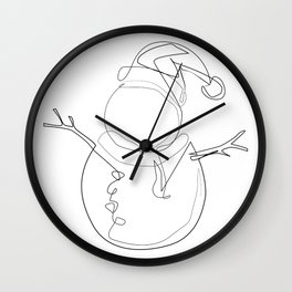 """Christmas Collection"" - Minimal Snowman Print Wall Clock"