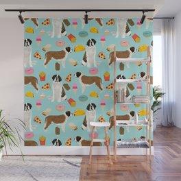 St. Bernard junk food fast food french fries dog breed pattern cute pet gifts Wall Mural