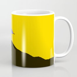 Colorful Umbrella On A Black Mountain In A Yellow Background - #society6 #buyart Coffee Mug