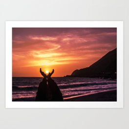 Praising The Sun in Malibu Art Print