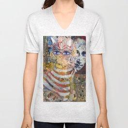 Enchanted Feline and Mona Unisex V-Neck