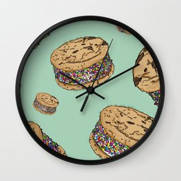 THERE'S ALWAYS TIME FOR AN ICE CREAM SANDWICH WITH CHOCOLATE CHIPS AND FUNFETTIS! - MINT Wall Clock