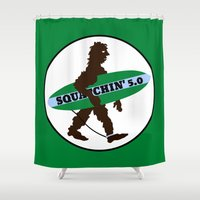 bigfoot Shower Curtains featuring Sasquatch Squatchin' Surfing Bigfoot by mailboxdisco