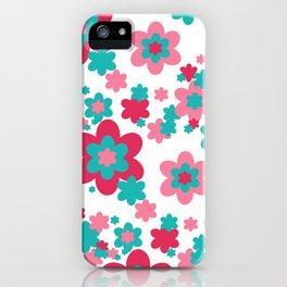 Pink Raspberry Aqua Blue Floral  iPhone Case