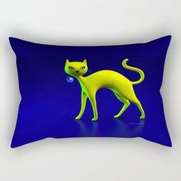 The Yellow Cat And Glass Blue Cherry Rectangular Pillow