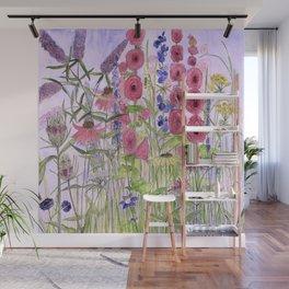 Watercolor Wildflower Garden Flowers Hollyhock Teasel Butterfly Bush Blue Sky Wall Mural