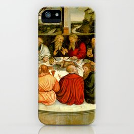 """Lucas Cranach the Elder """"The Last Supper (with Luther among the Apostles)"""" iPhone Case"""