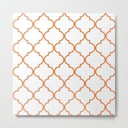 Quatrefoil - orange Metal Print