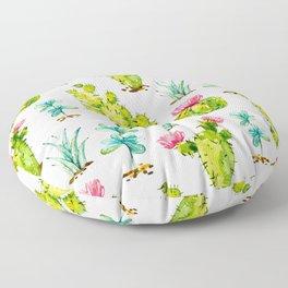 Green Cactus Watercolor Floor Pillow
