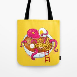 Bowl of ramen with octopus taking a bath Tote Bag
