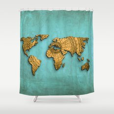 Vintage World Map on Jade Dragon Teal Shower Curtain