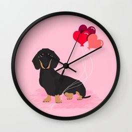 Dachshund valentines day gifts heart balloons dog breed must haves dachsie doxie Wall Clock