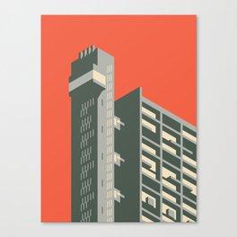 Trellick Tower London Brutalist Architecture - Plain Red Canvas Print