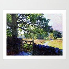 5 barred Gate and Oak in the Park, Lake District, UK. Watercolour Art. Art Print