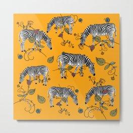 Mellow Yellow African Zebras - Bagaceous Metal Print
