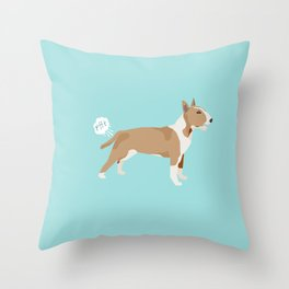 Bull Terrier fawn dog breed funny dog fart Throw Pillow